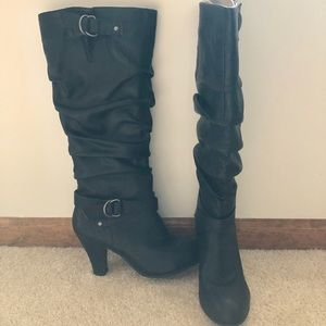 Faux black leather heeled boots